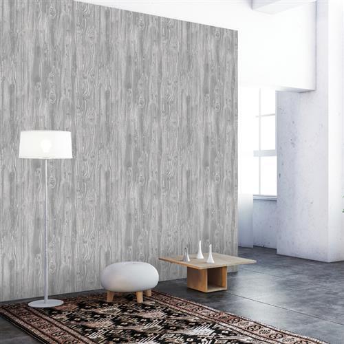 Woodgrain Textured Industrial Loft Pewter Removable Wallpaper