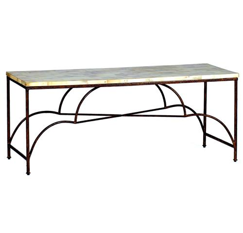 Rollins Industrial Loft Bronze Iron Coffee Table Kathy Kuo: Woodward Elegant Rustic Iron Horn Inlay Coffee Table