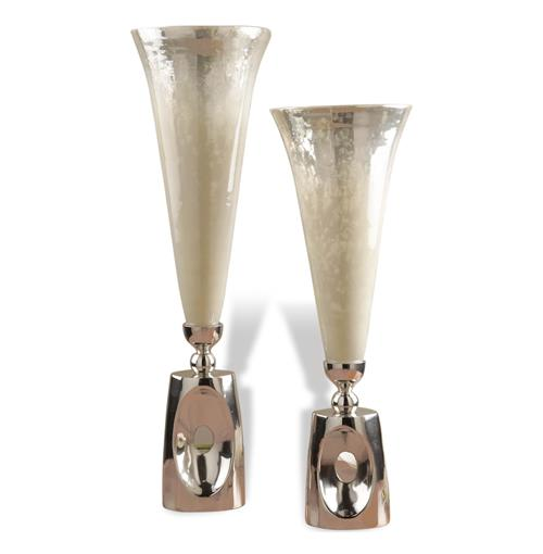 Wooster Hollywood Regency Style Mercury Glass Silver Vases