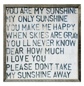 You Are My Sunshine Square Reclaimed Wood Frame Wall Art - Small