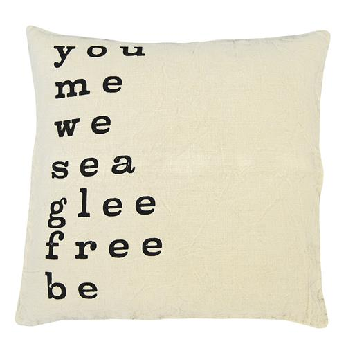 You Me We' Large Print Linen Down Throw Pillow