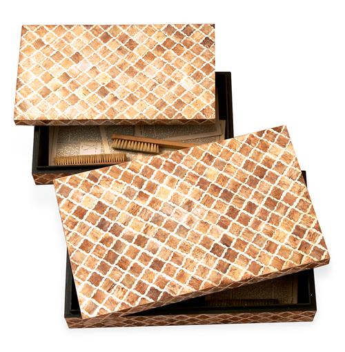 Zanzibar Modern Rustic Bone Wood Decorative Boxes