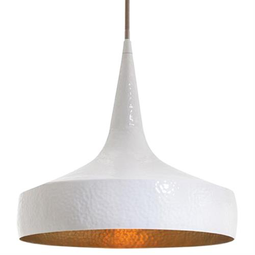 Ziggy Glossy White Wide Hammered Iron Pendant Light