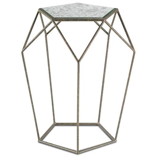 Rollins Industrial Loft Bronze Iron Console Table: Zin Geometric Industrial Antique Mirror Bronze Side Table