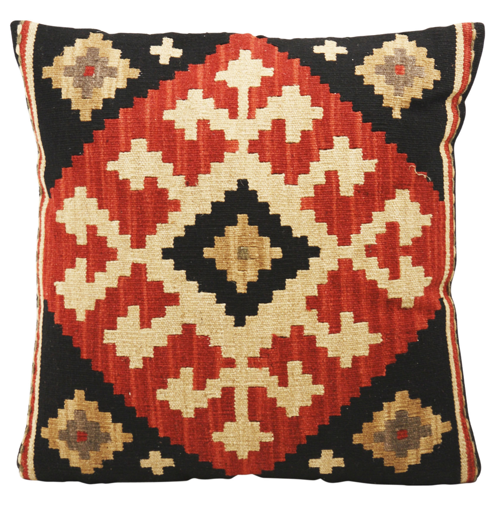 Ataylana Black Red Kilim Pillow - 22x22
