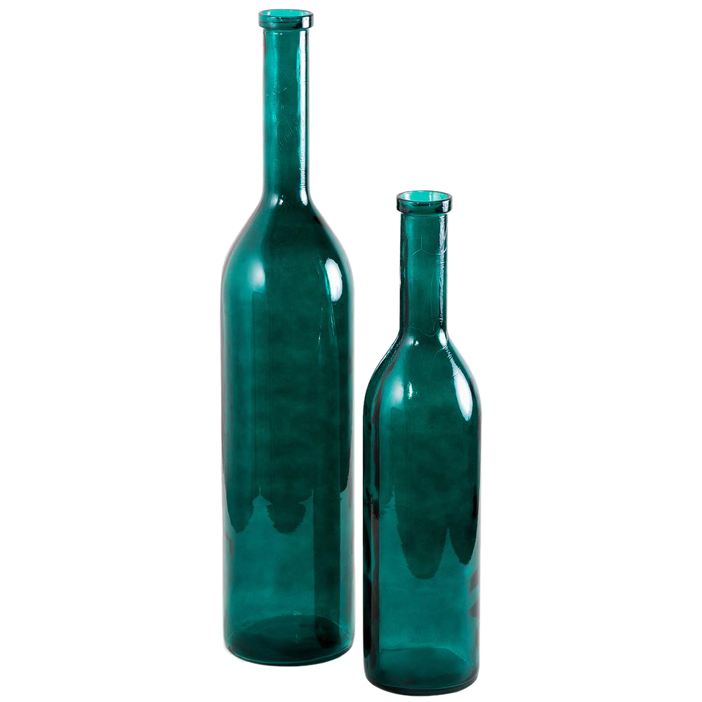 Dev Hollywood Regency Teal Hand-Blown Glass Bottles - Set of 2
