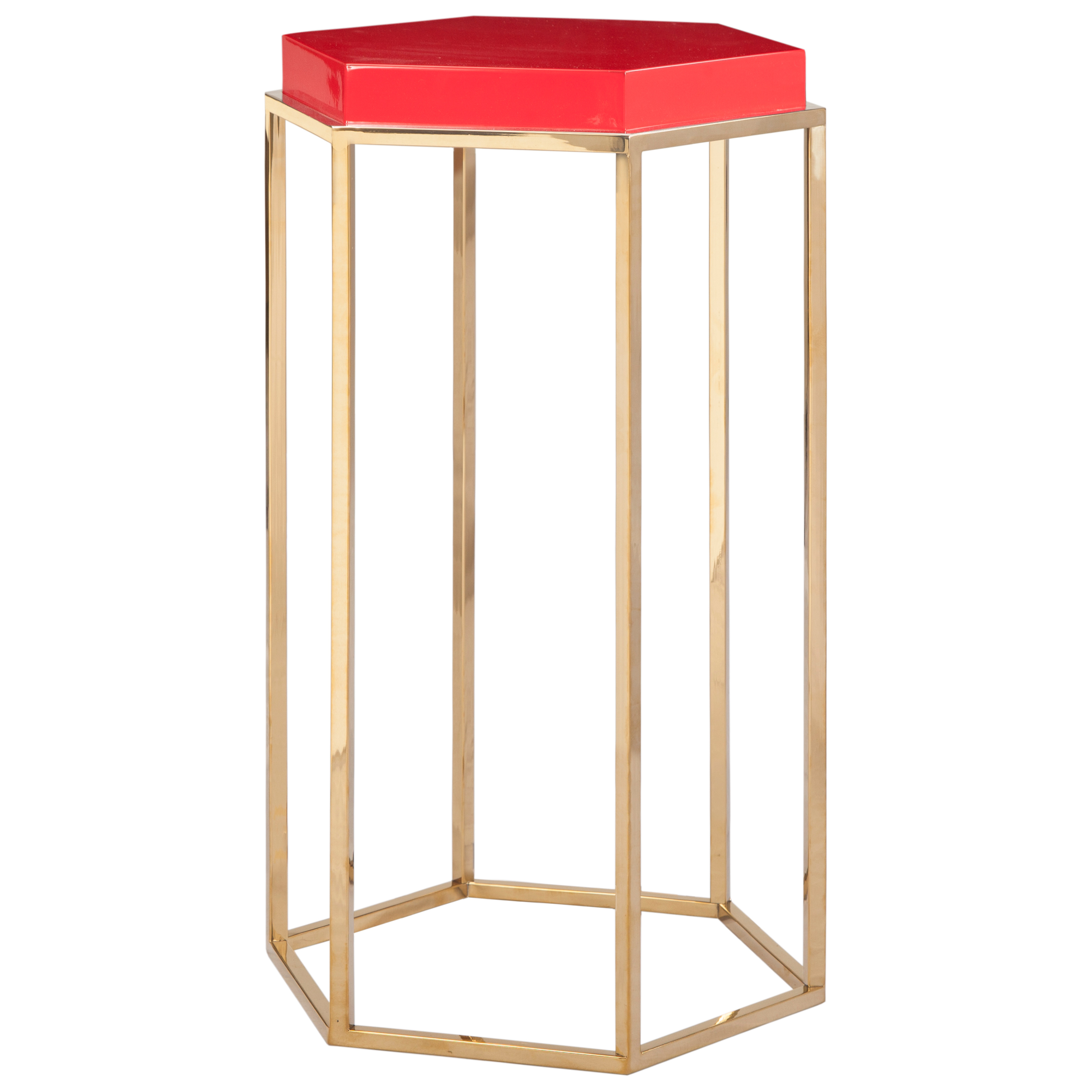 Lily Hollywood Regency Hexagonal Red Lacquer Brass Side End Table