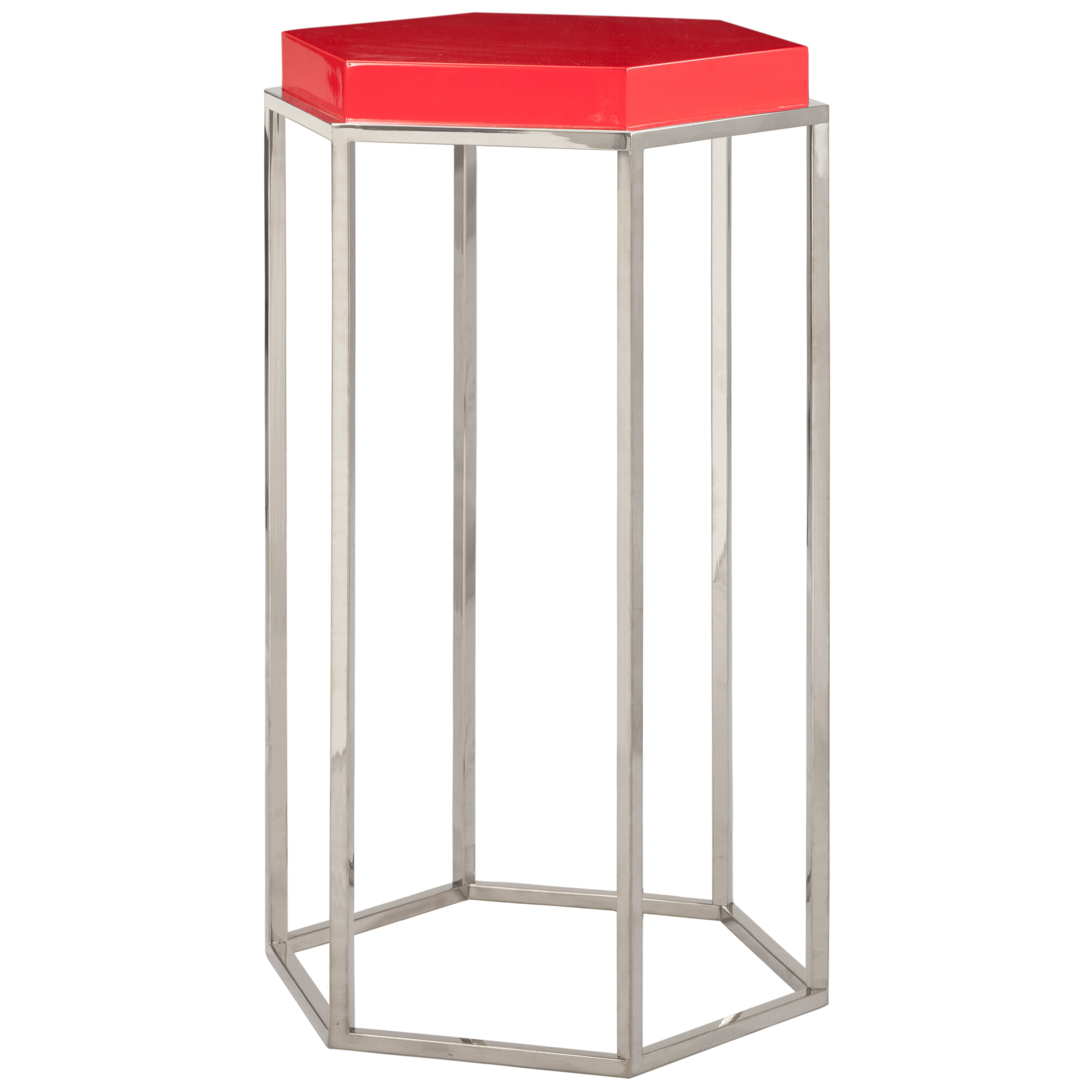 Lily Hollywood Regency Hexagonal Red Lacquer Nickel Side End Table
