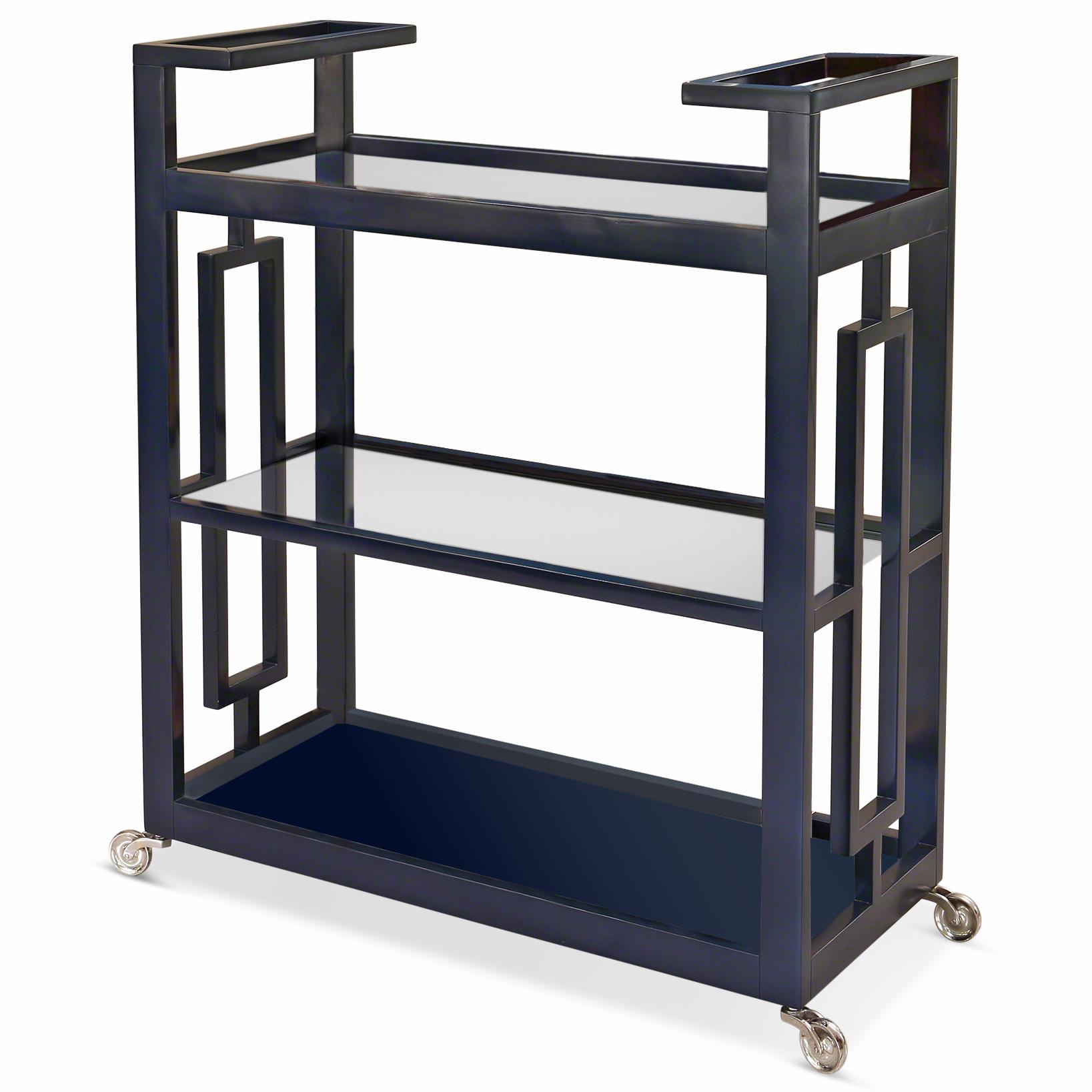 Pierce Modern Classic Ink Blue Lacquer Glass 3 Tier Serving Bar Cart