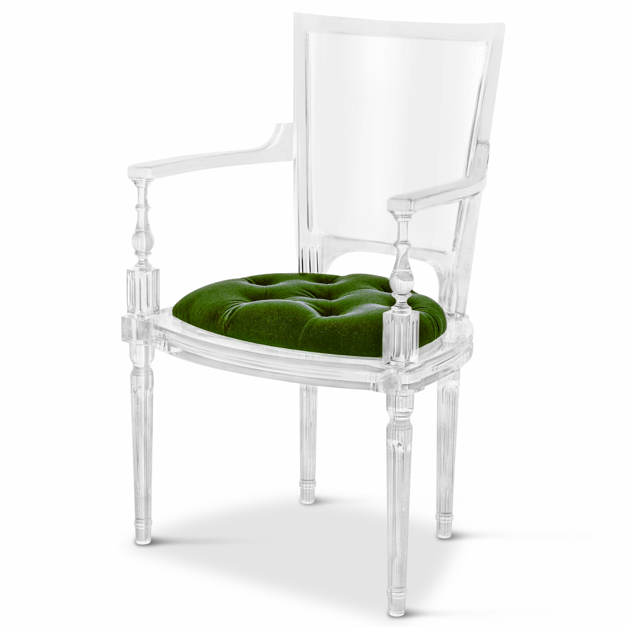 Henderson Hollywood Regency Italian Acrylic Green Mohair Dining Armchair