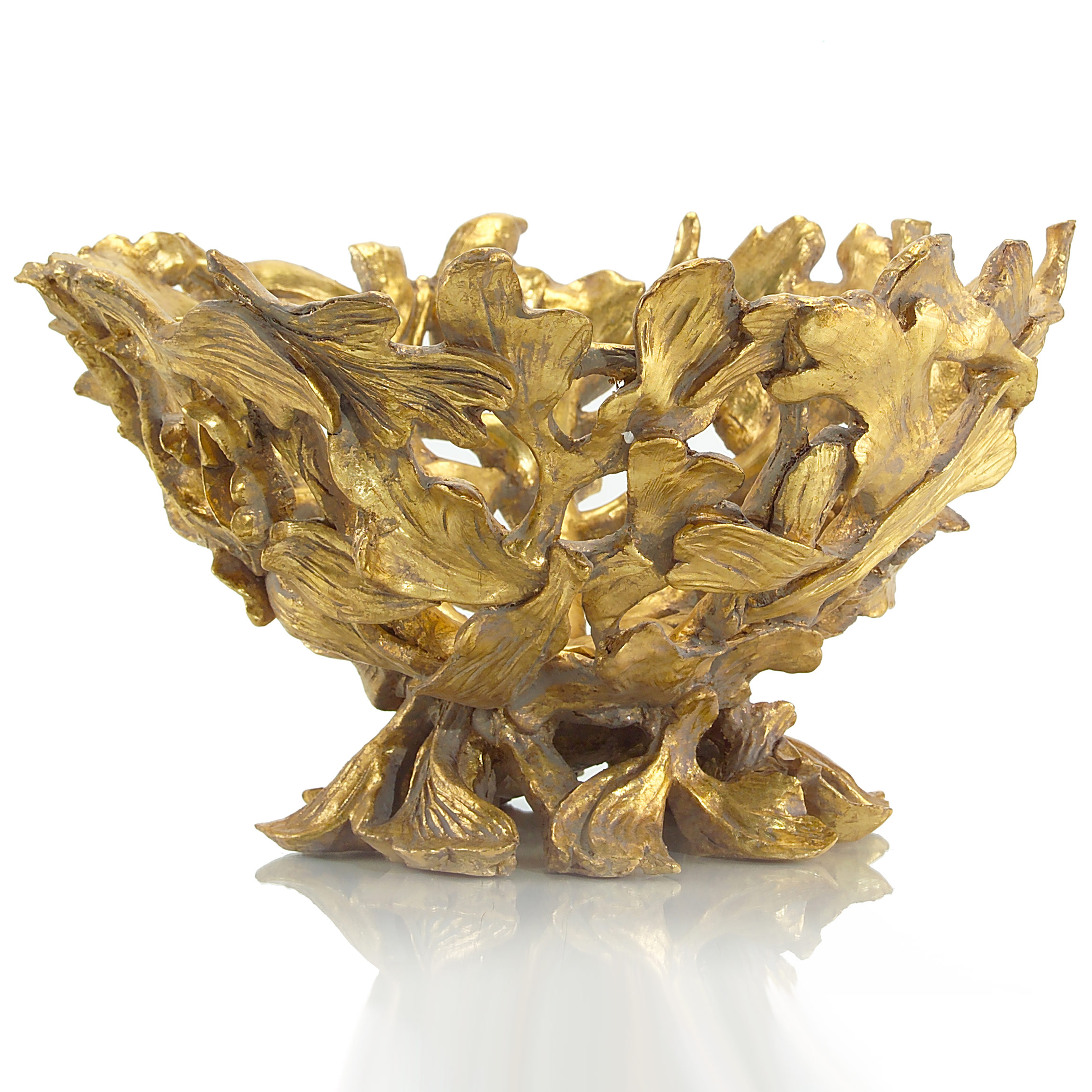 Novalie Modern Classic Antique Gold Twisted Branch Bowl