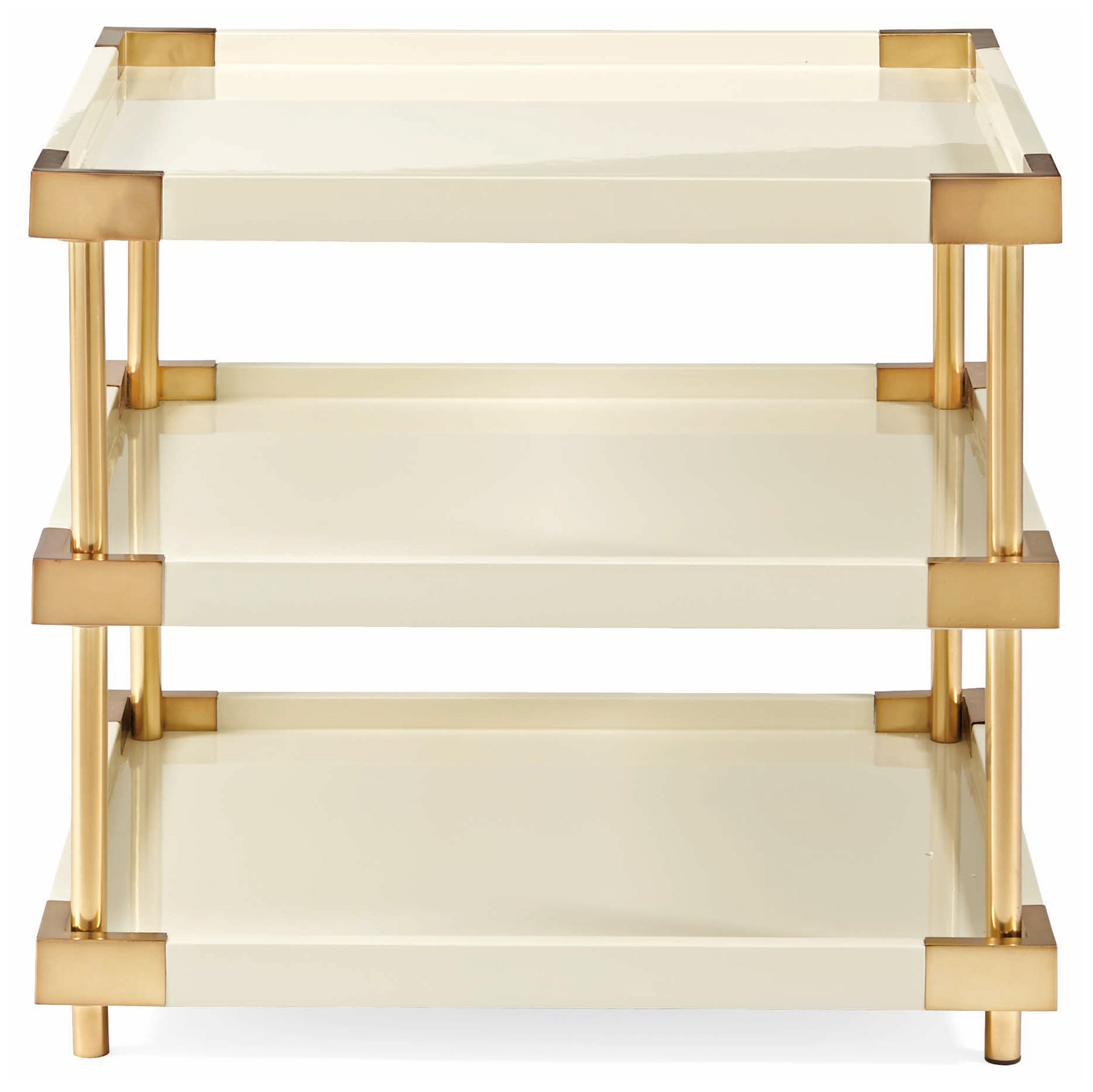 Elena Hollywood Regency Ivory Lacquer Brass Rectangular End Table
