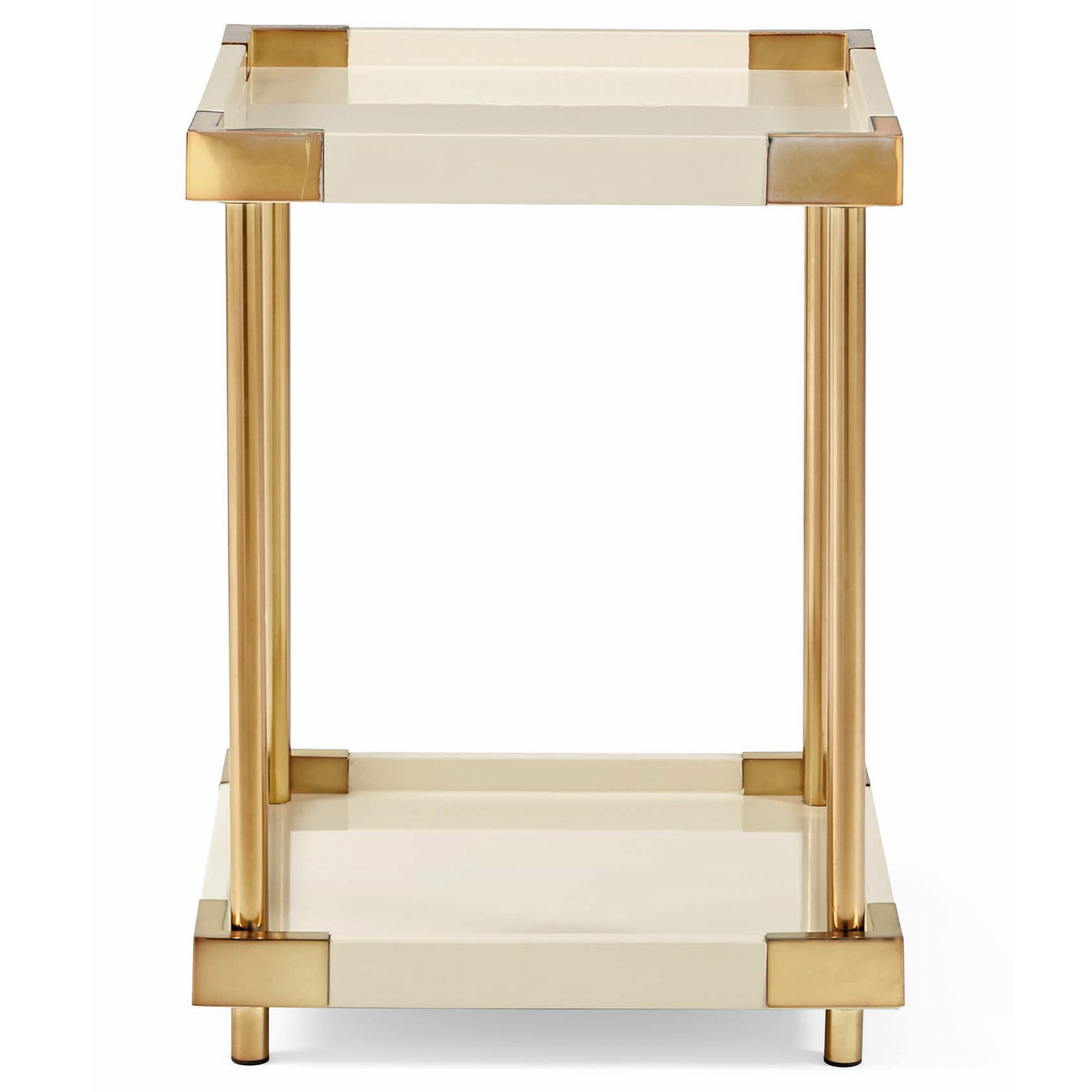 Elena Hollywood Regency Ivory Lacquer Brass Square End Table