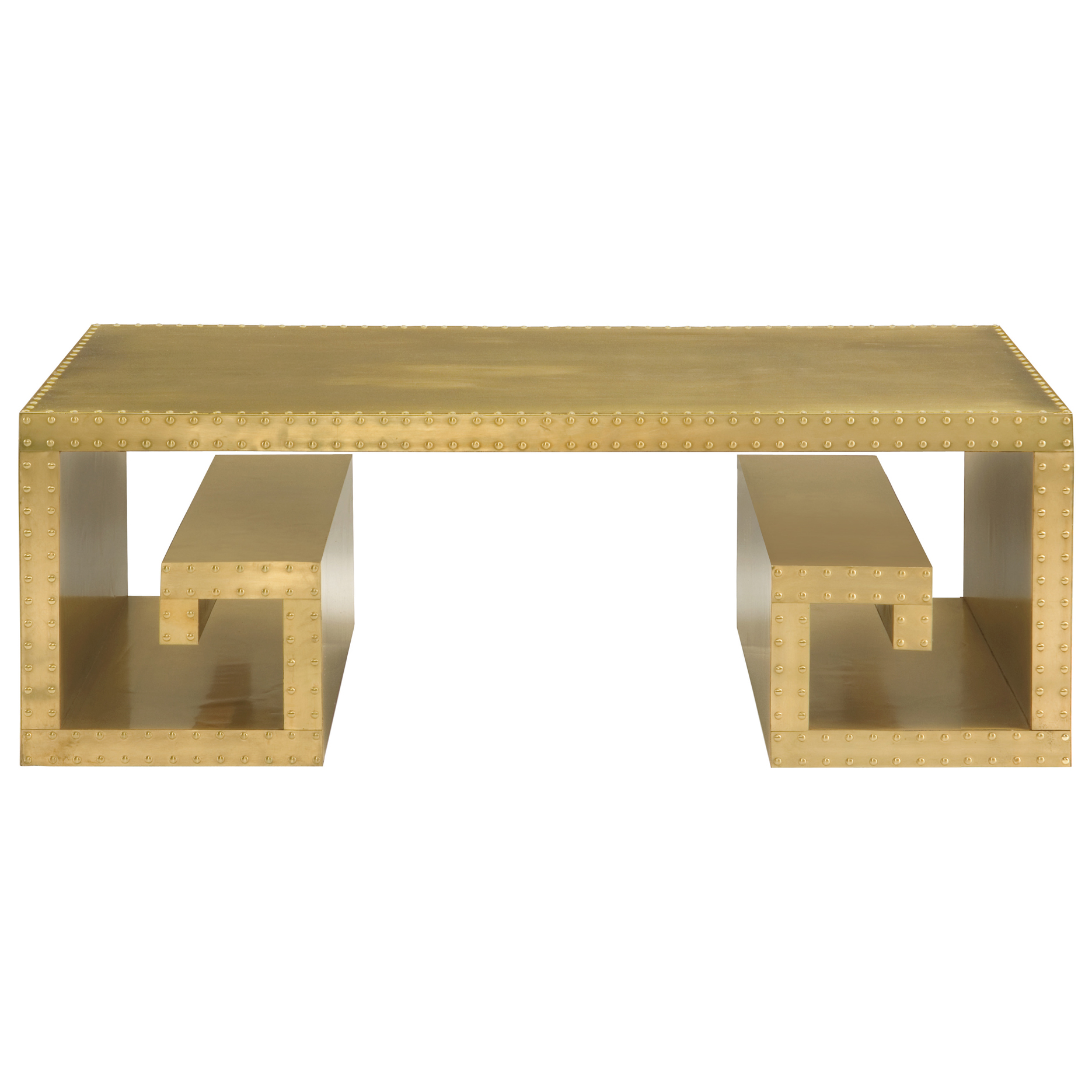 Barnaby Hollywood Regency Patinated Brass Metal Coffee Table