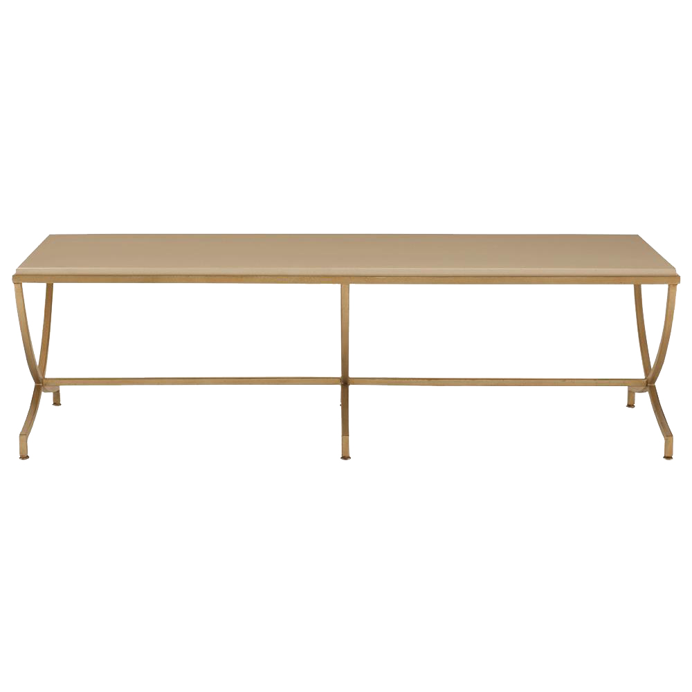 Flora Hollywood Regency Soft Gold Steel Stone Coffee Table