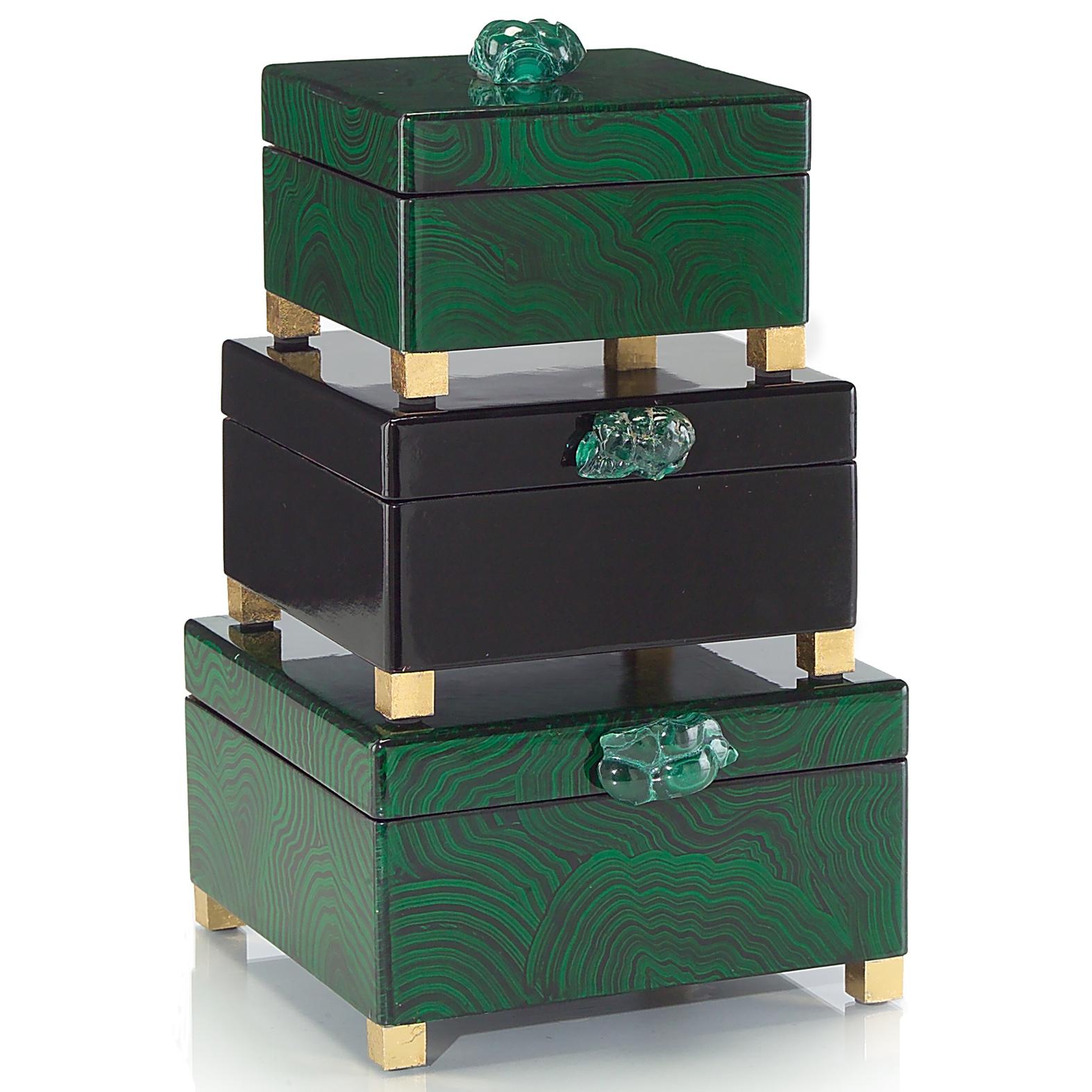 Bridget Hollywood Regency Malachite Green Black Lacquer Boxes - Set of 3