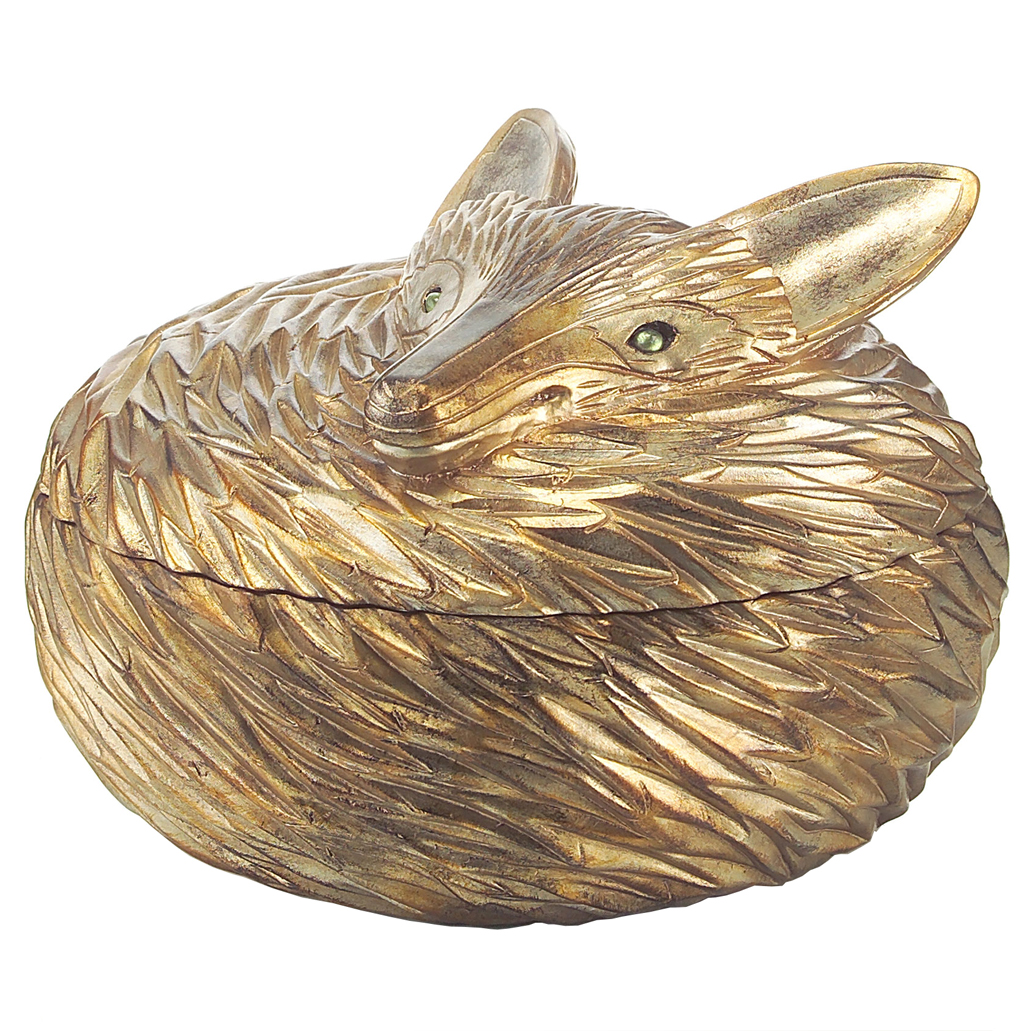 Charmant John Richard Reynard Hollywood Regency Antique Silver Fox Sculpted Box