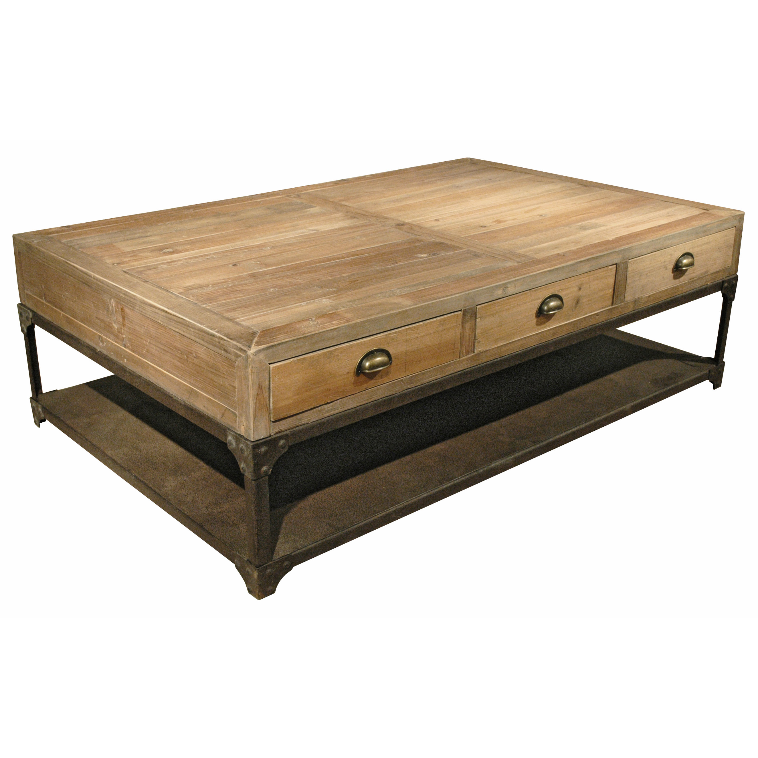 Luca Industrial Loft Reclaimed Wood Rustic Iron Drawers Coffee Table