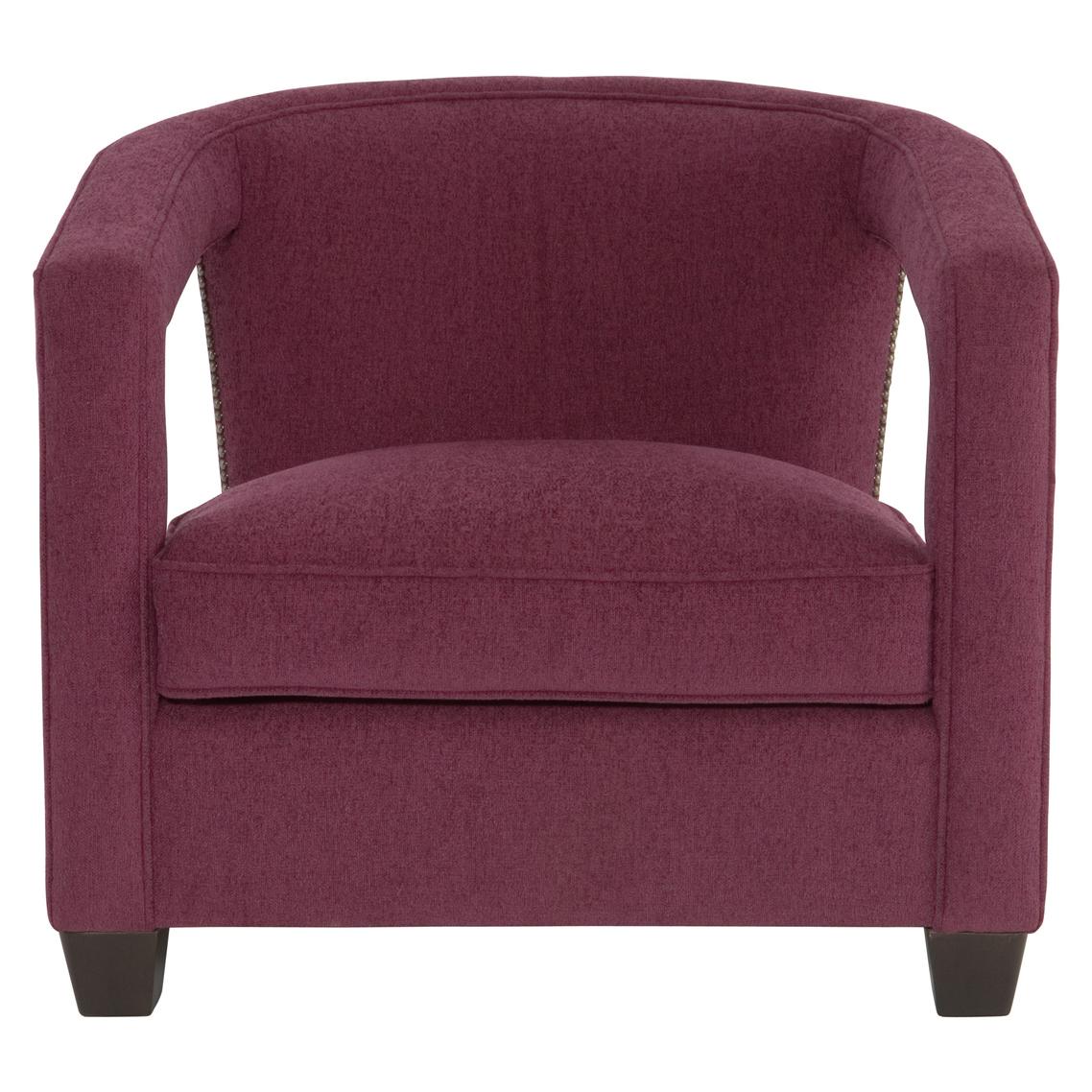 Rhea Hollywood Regency Bright Nickel Nailhead Purple Armchair