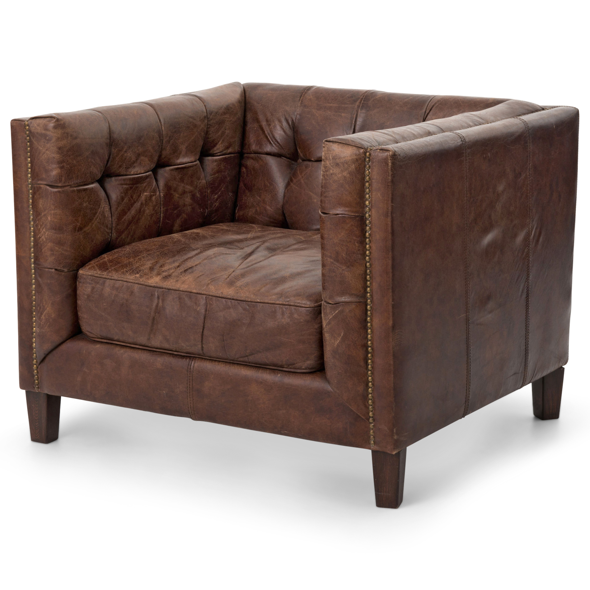 Christopher Rustic Lodge Tufted Straight Back Brown Leather Armchair