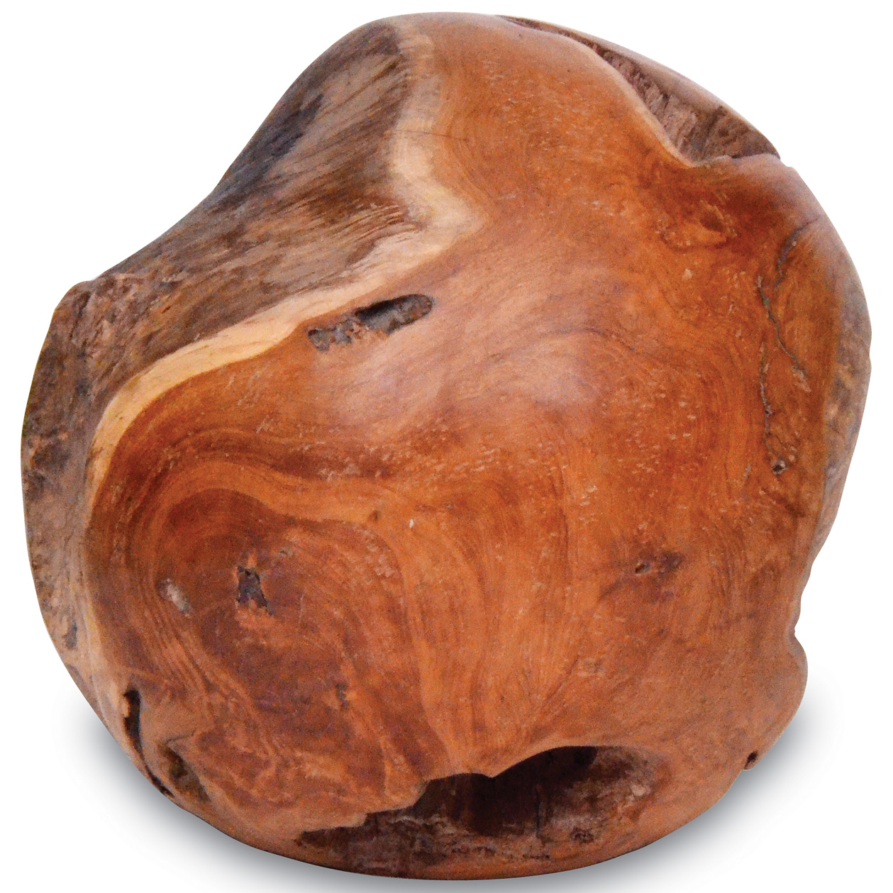 Cabo Coastal Beach Teak Wood Orb Sculpture - 24 Inch