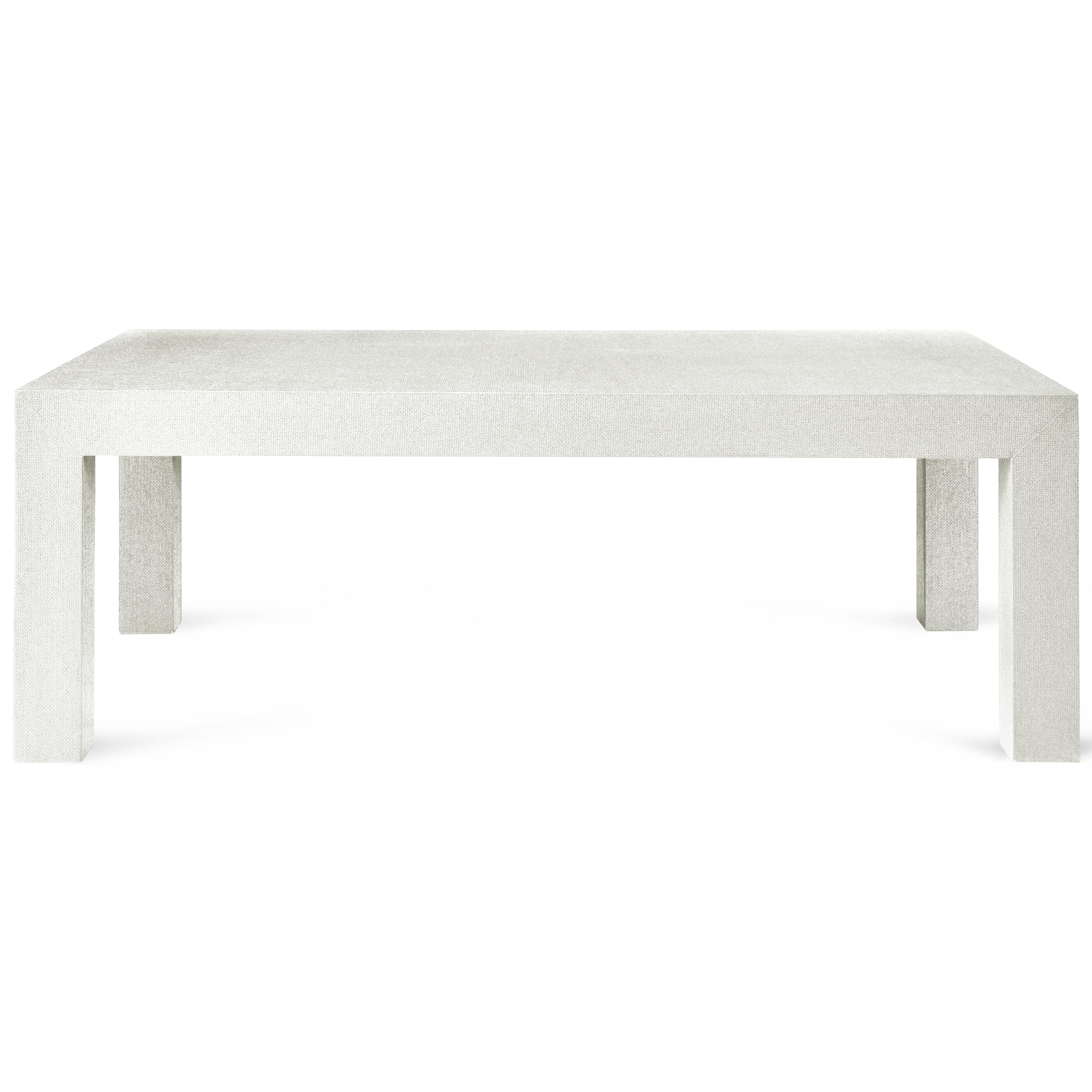 Wynne Modern Classic White Lacquer Grasscloth Coffee Table