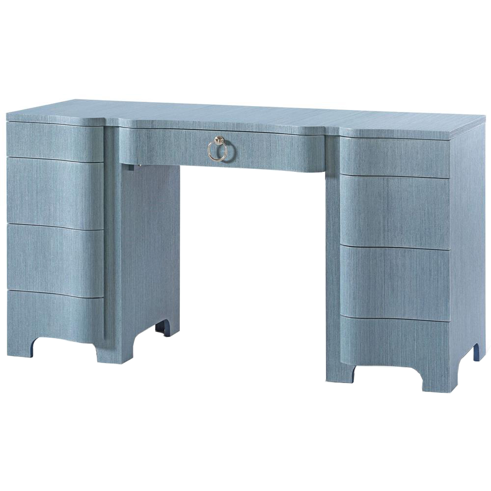 Judith Modern Classic Light Blue Lacquer Grasscloth Desk