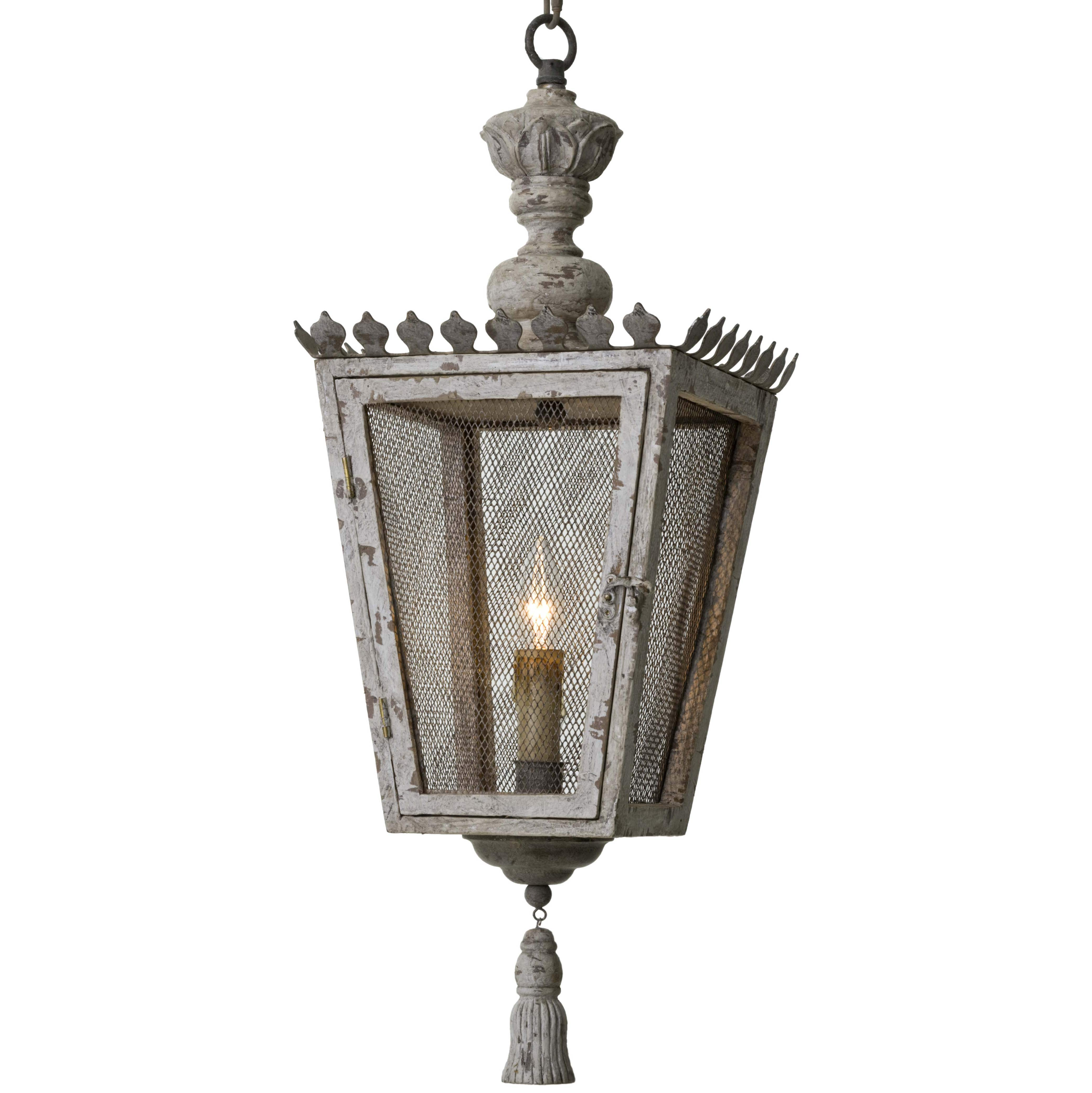 Rudolph French Country Tassel Gold Carved Wood Lantern - 27.25 Inch