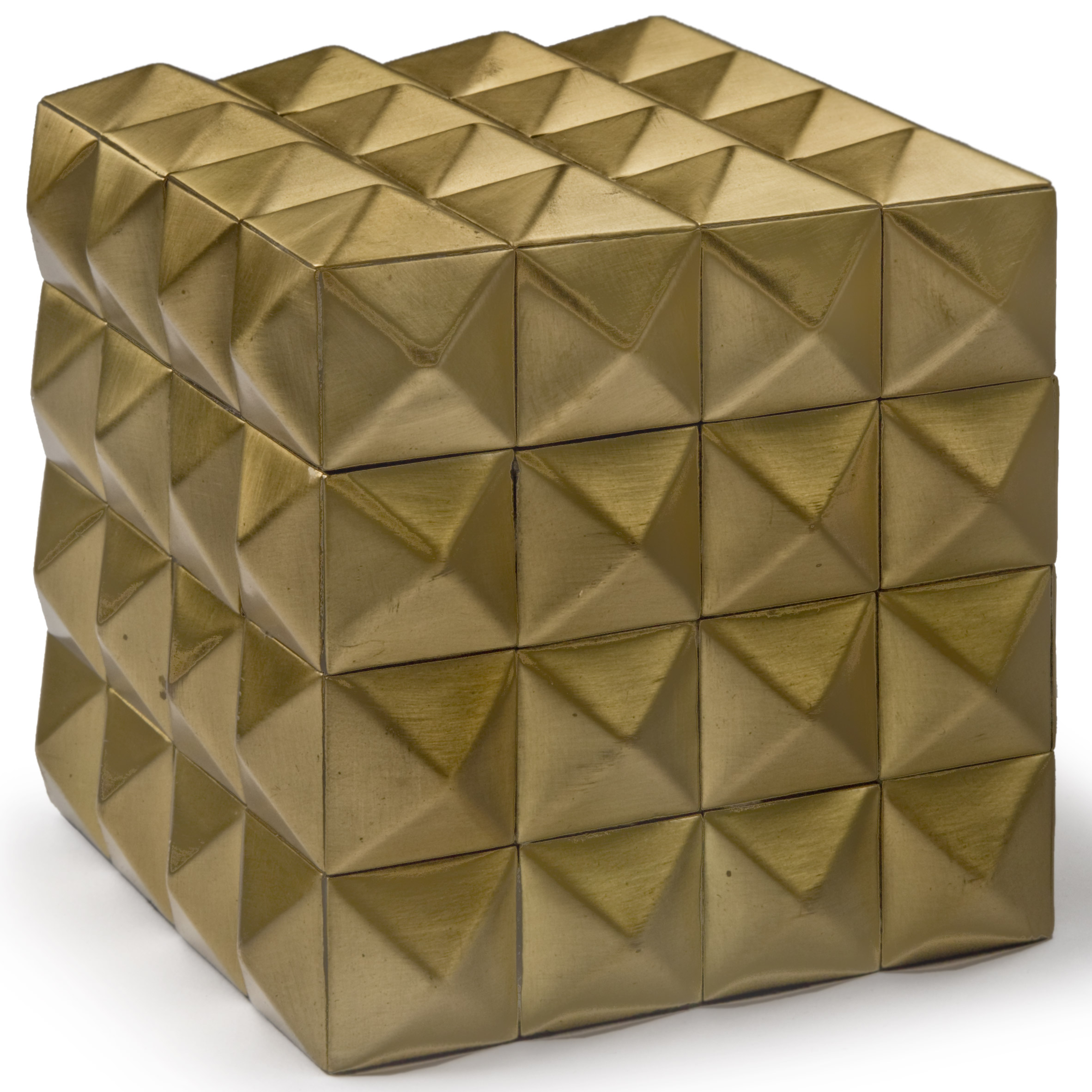 Lisbeth Modern Classic Gold Pyramid Cubic Box