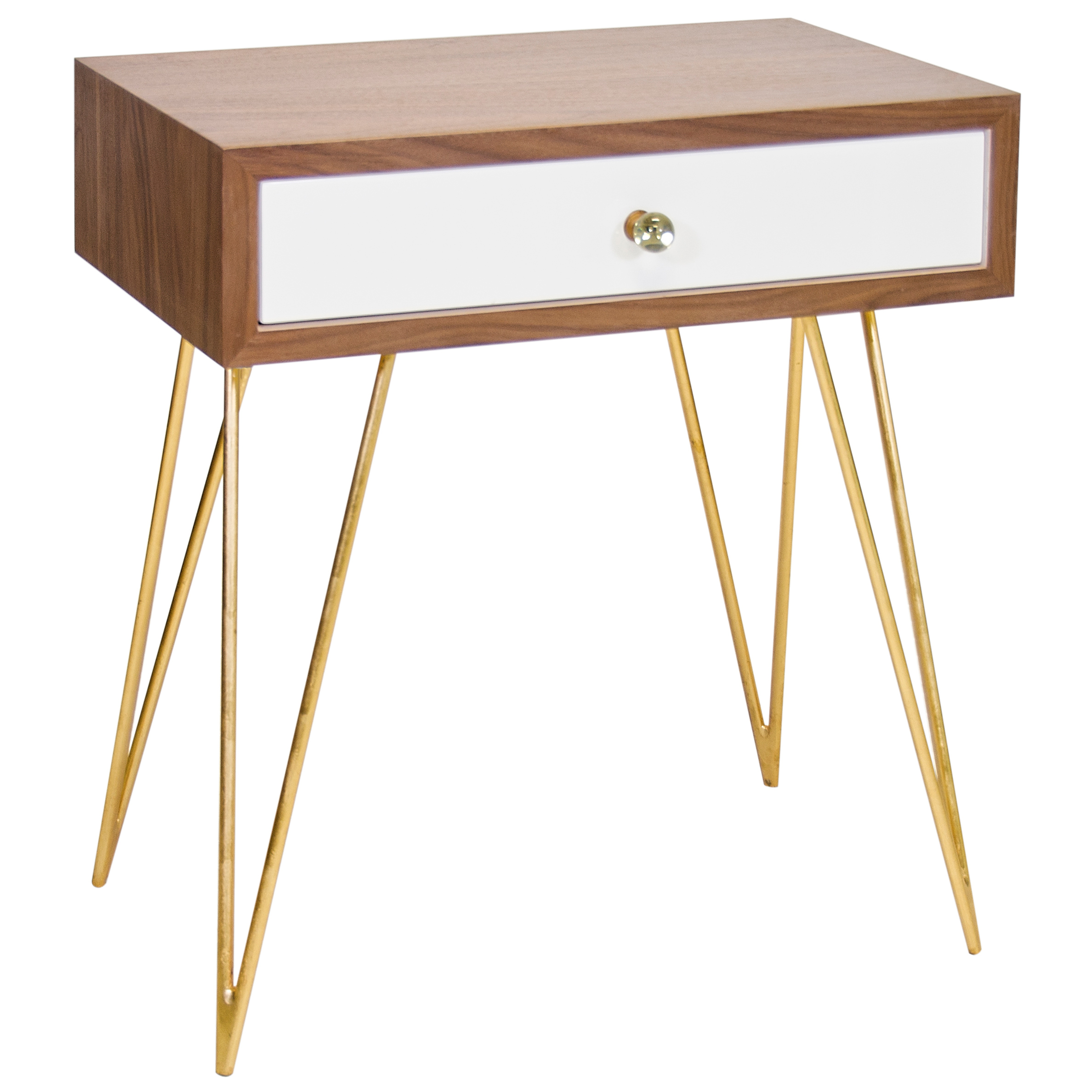 Biscayne Hollywood Regency Walnut White Nightstand Side Table