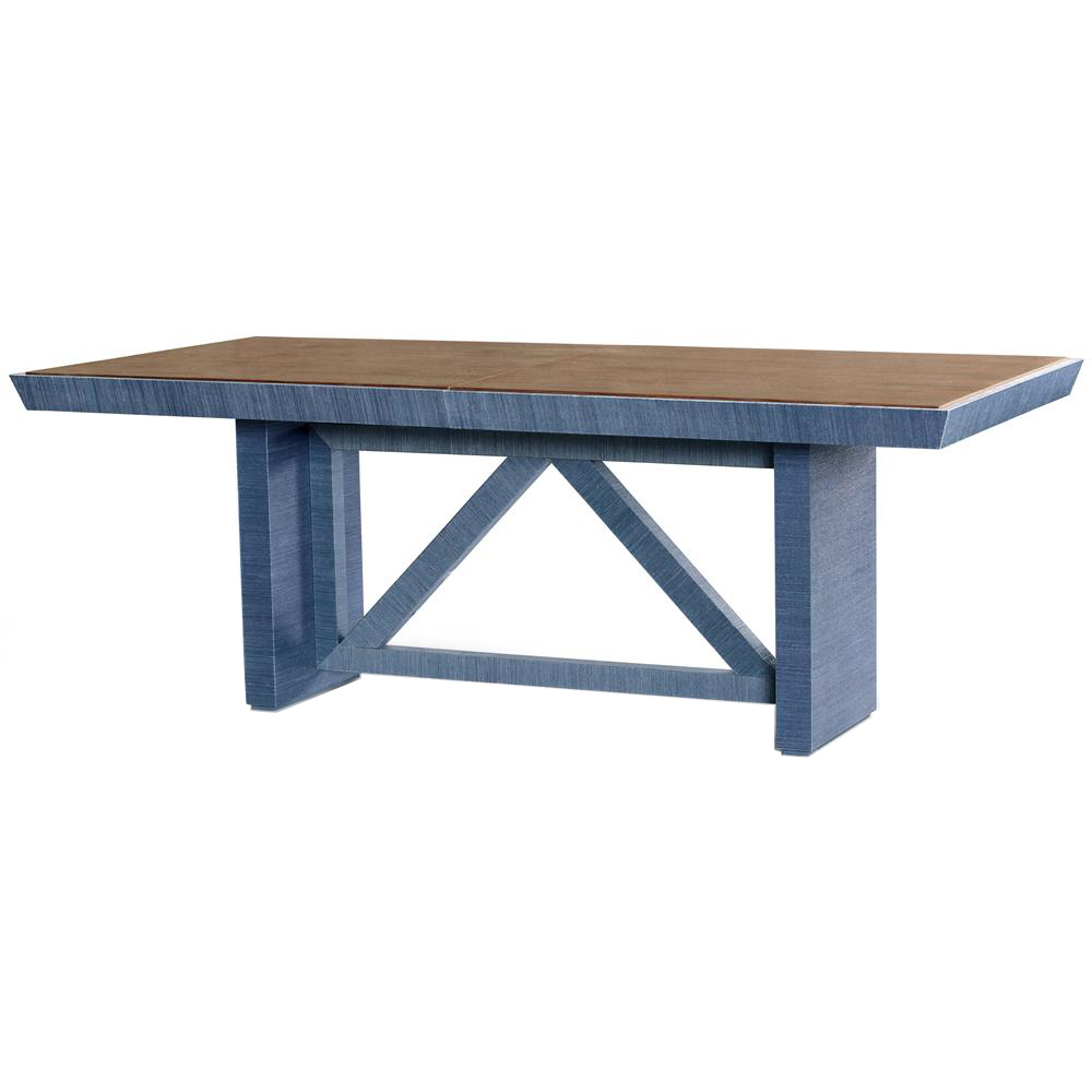 Delen Modern Classic Blue Lacquer Grasscloth Brown Dining Table