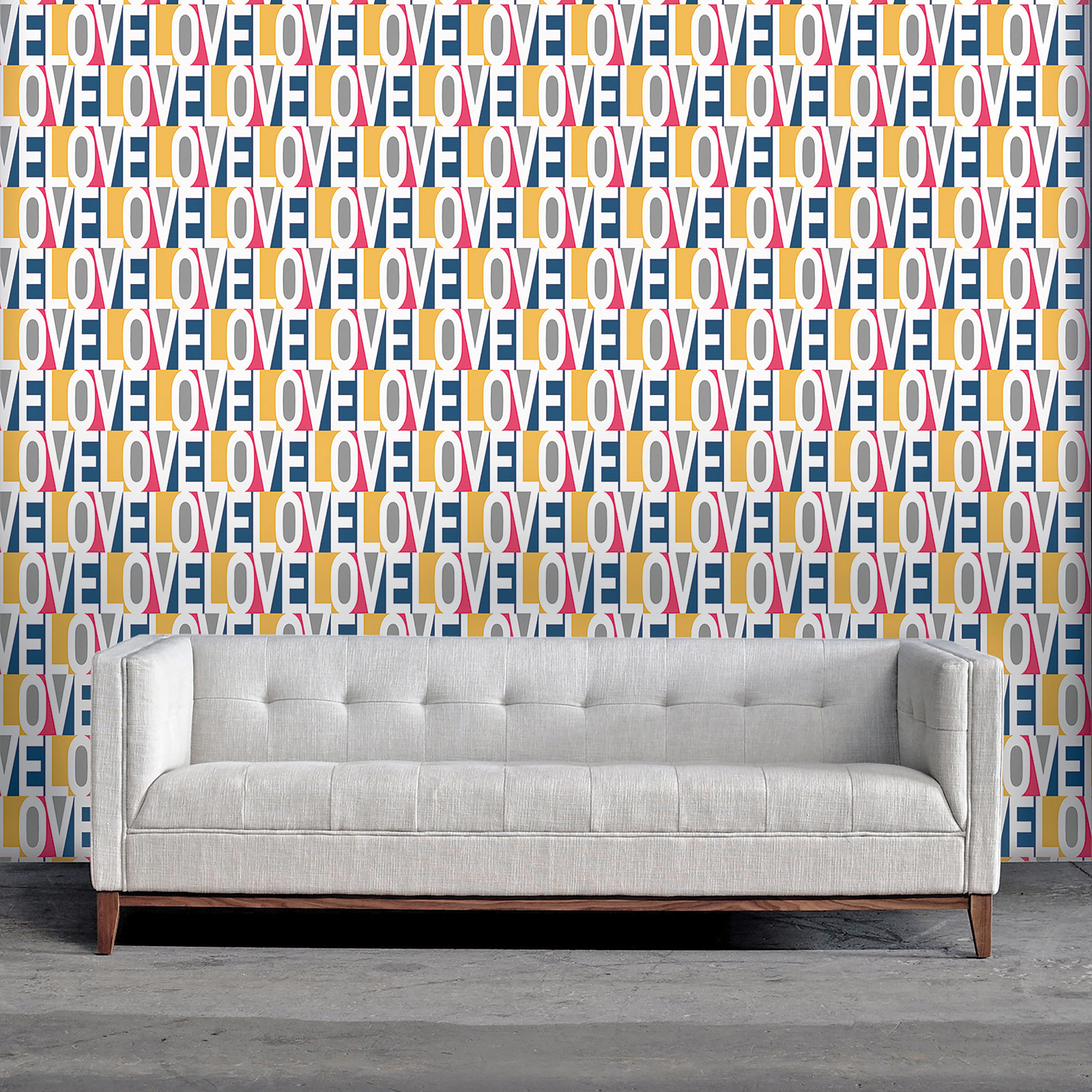 Love Modern Classic Pink Blue Orange Grey Removable Wallpaper
