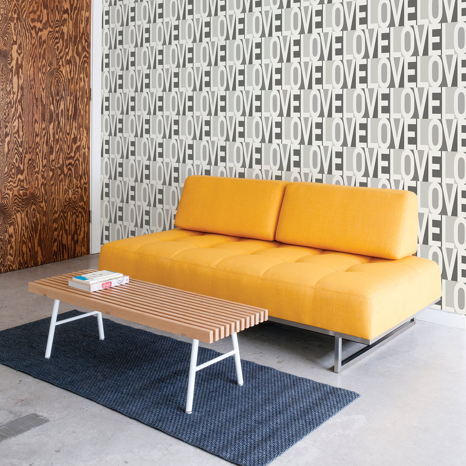 Love Modern Classic Grey Ivory Removable Wallpaper