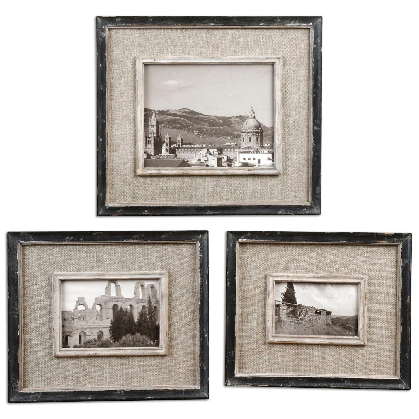 Designer photo frames eclectic photo frames kathy kuo home ashe rustic lodge black burlap wood photo frames set of 3 jeuxipadfo Image collections