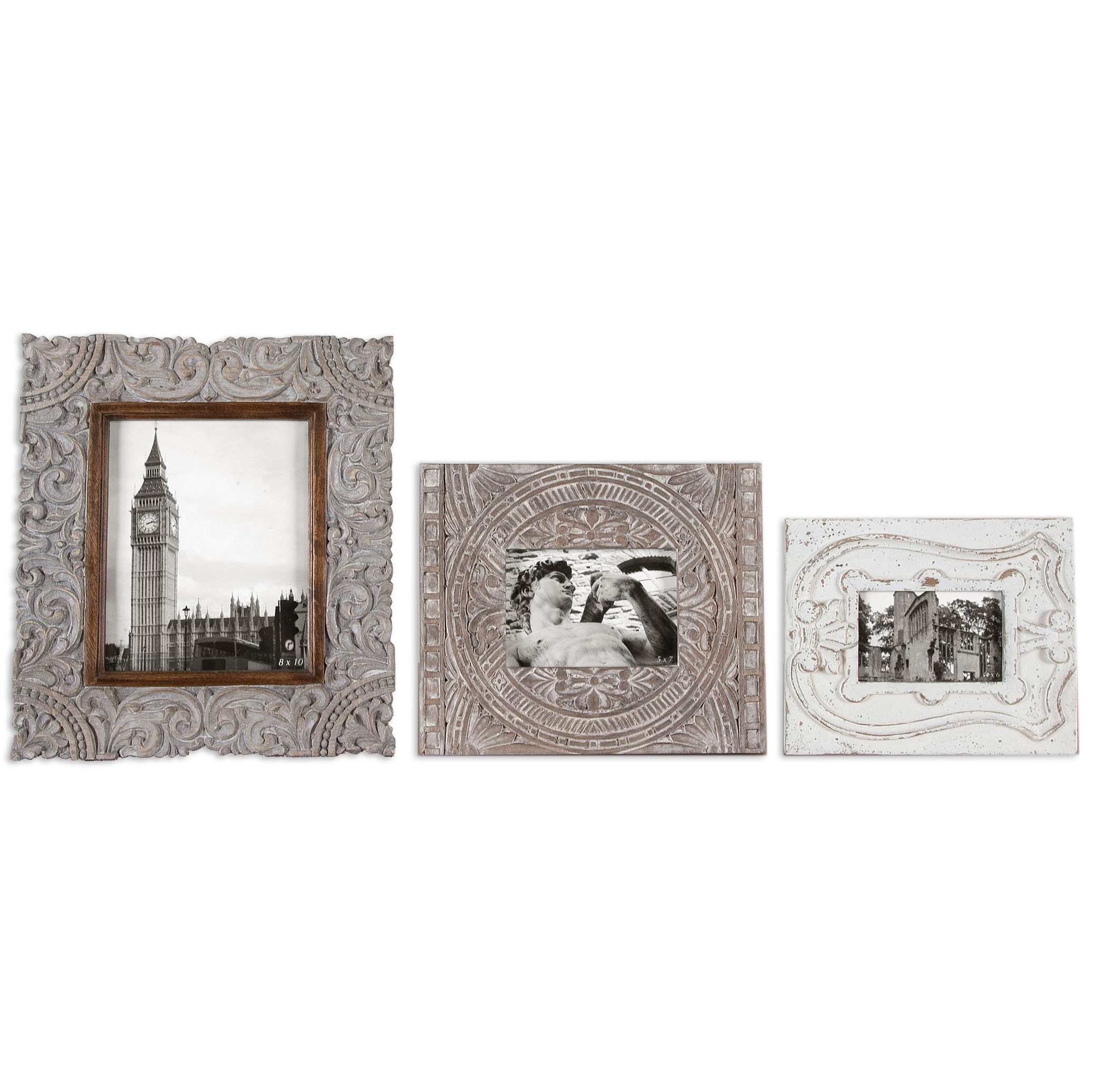 Designer photo frames eclectic photo frames kathy kuo home rouen french country carved antique white photo frames set of 3 jeuxipadfo Image collections