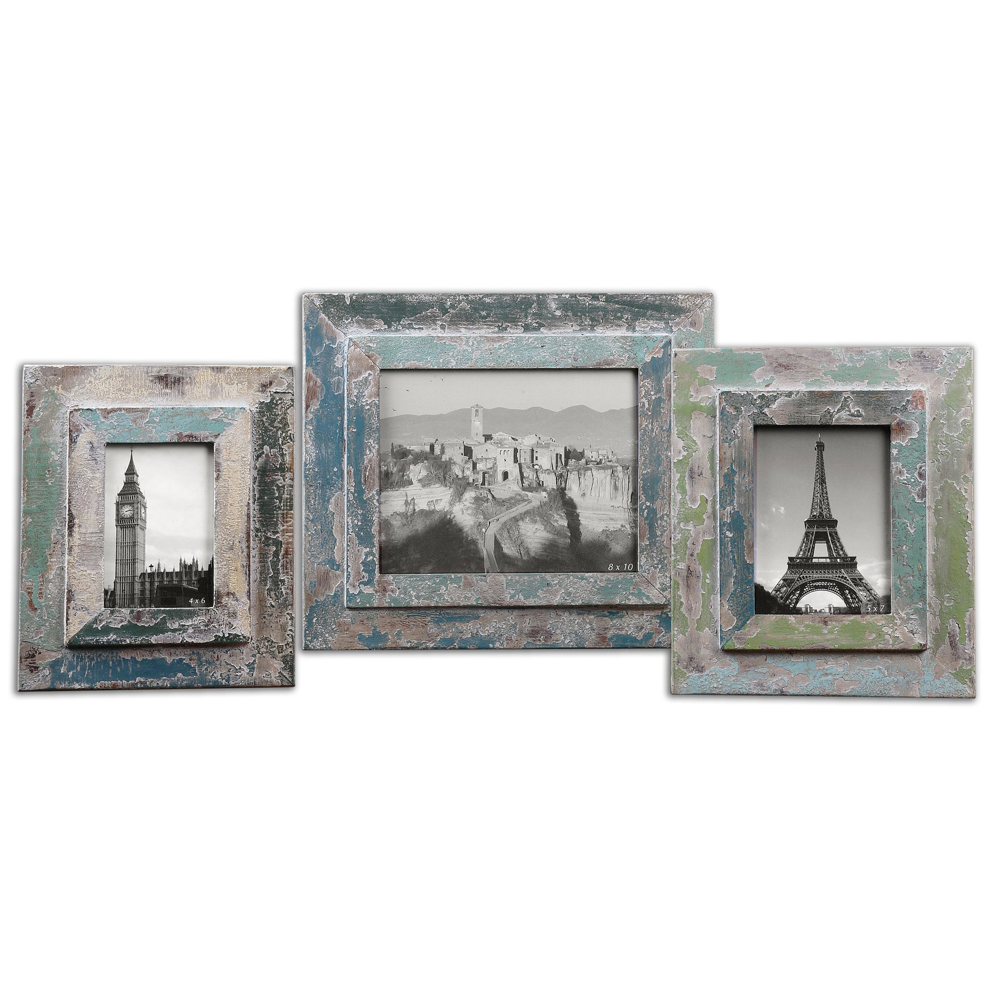 Designer photo frames eclectic photo frames kathy kuo home gracen global bazaar rustic blue photo frames set of 3 jeuxipadfo Image collections