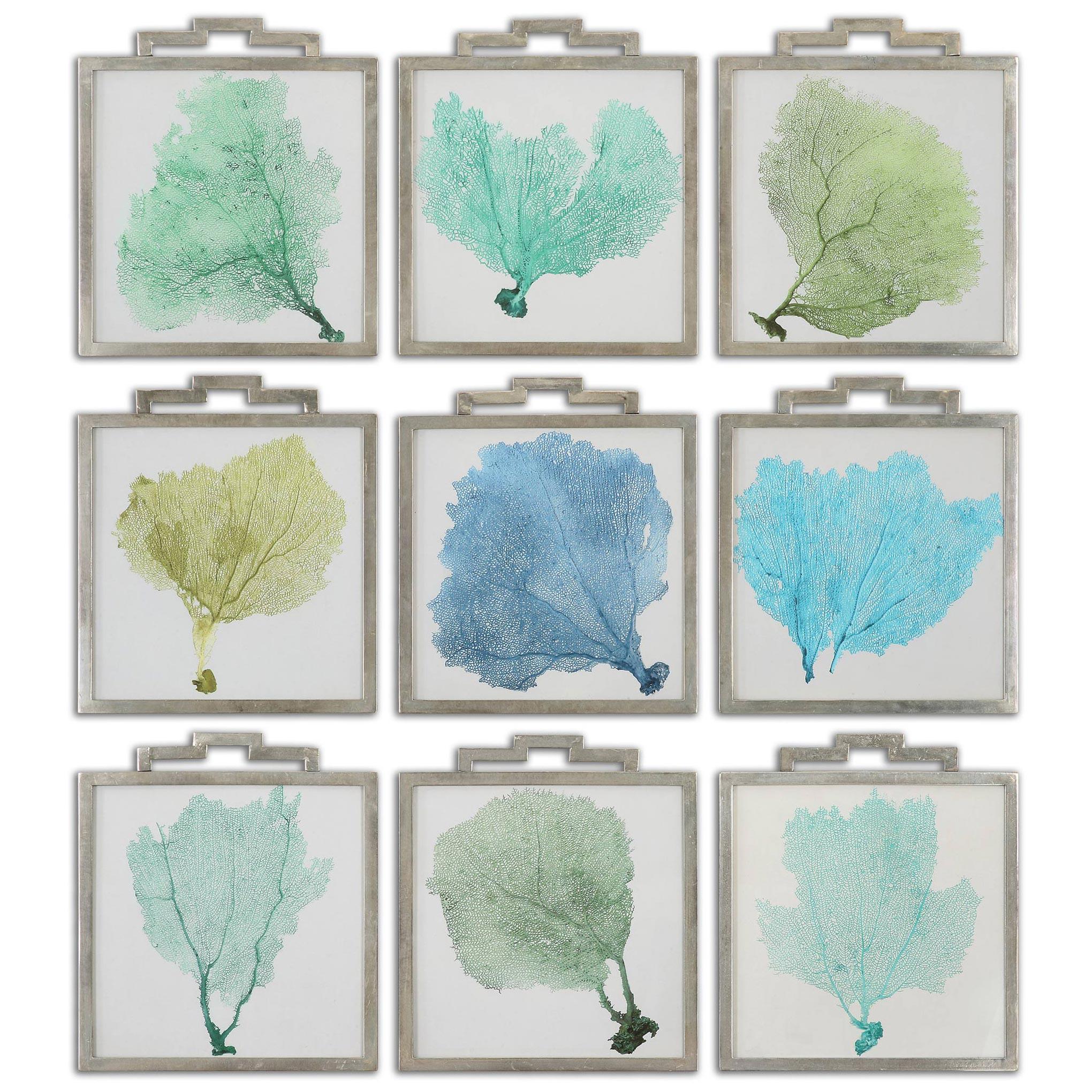 Lachlan Coastal Beach Blue Green Sea Fan Prints - Set of 9