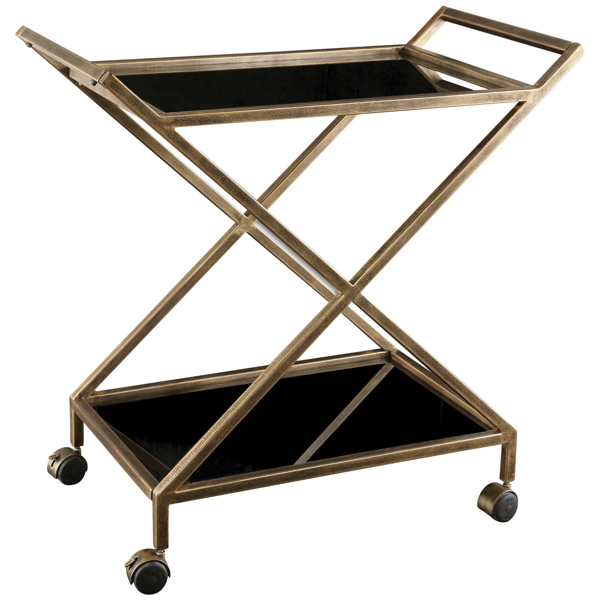 Lexington Modern Classic Antique Gold Black Glass Bar Cart