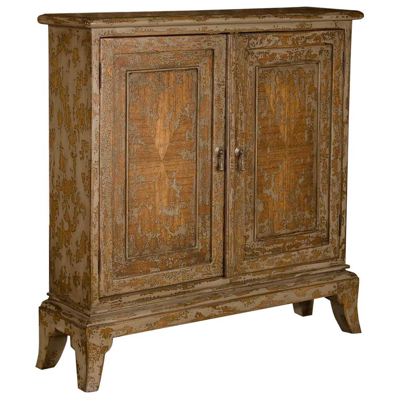 Monique French Country 2 Door Distressed Mahogany Wood Cabinet