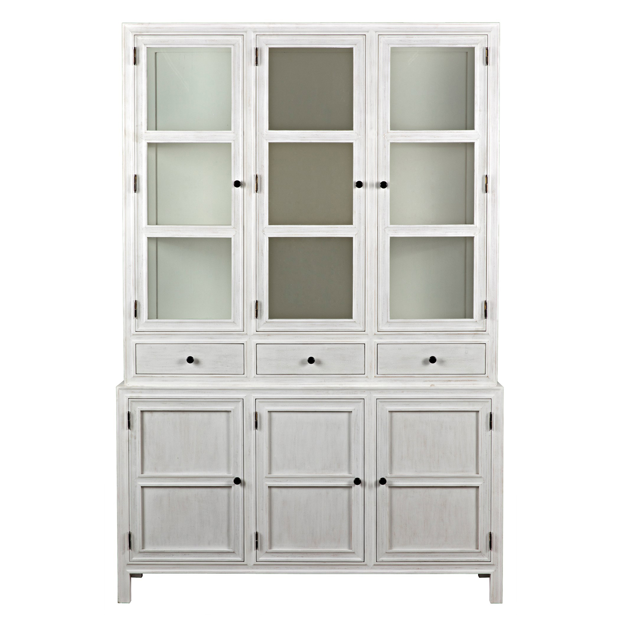 Jonah French Country Antique White Wash Colonial Hutch
