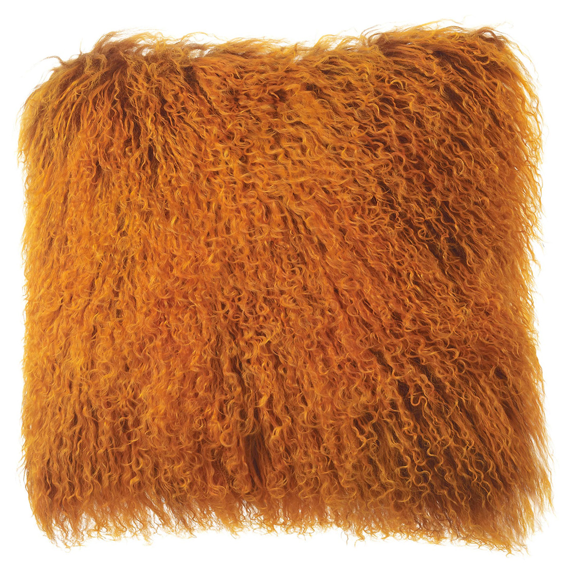 Shansi Modern Rust Long Wool Tibetan Fur Pillow - 16x16