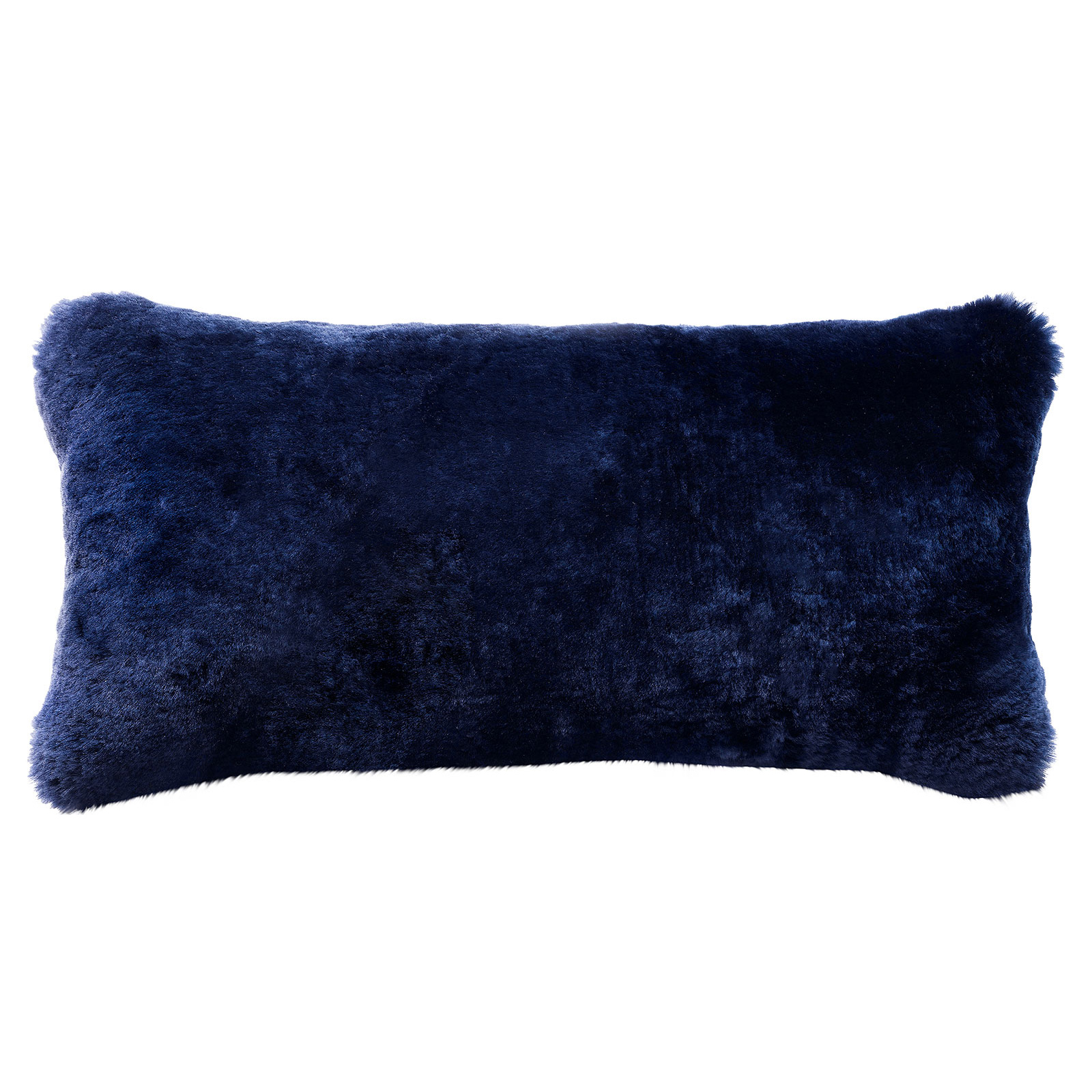 Argali Modern Navy Short Sheepskin Fur Lumbar Pillow - 11x22