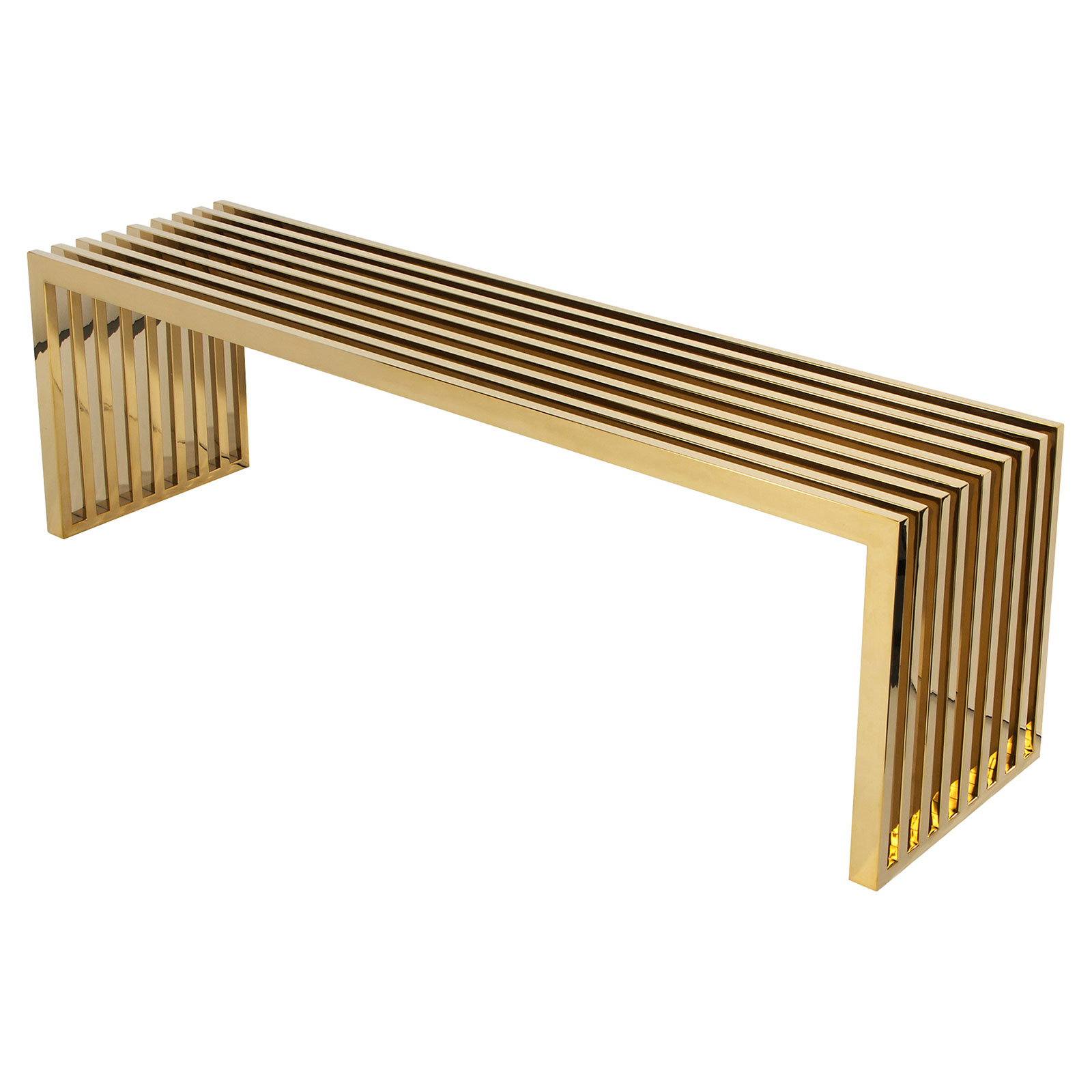 Mikale Modern Classic Polished Brass Slat Bench