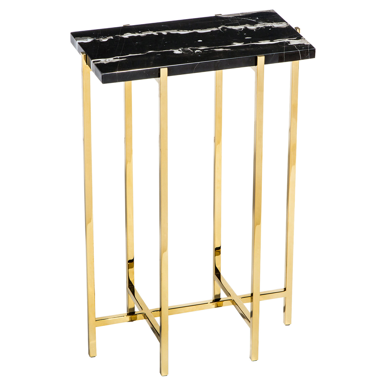 Rex Hollywood Regency Charcoal Marble Rectangle Gold Drink Table