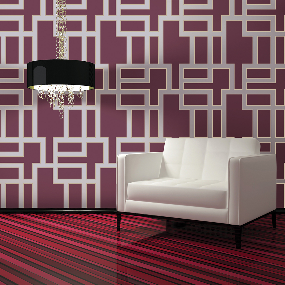 Maze Modern Classic Plum Removable Wallpaper