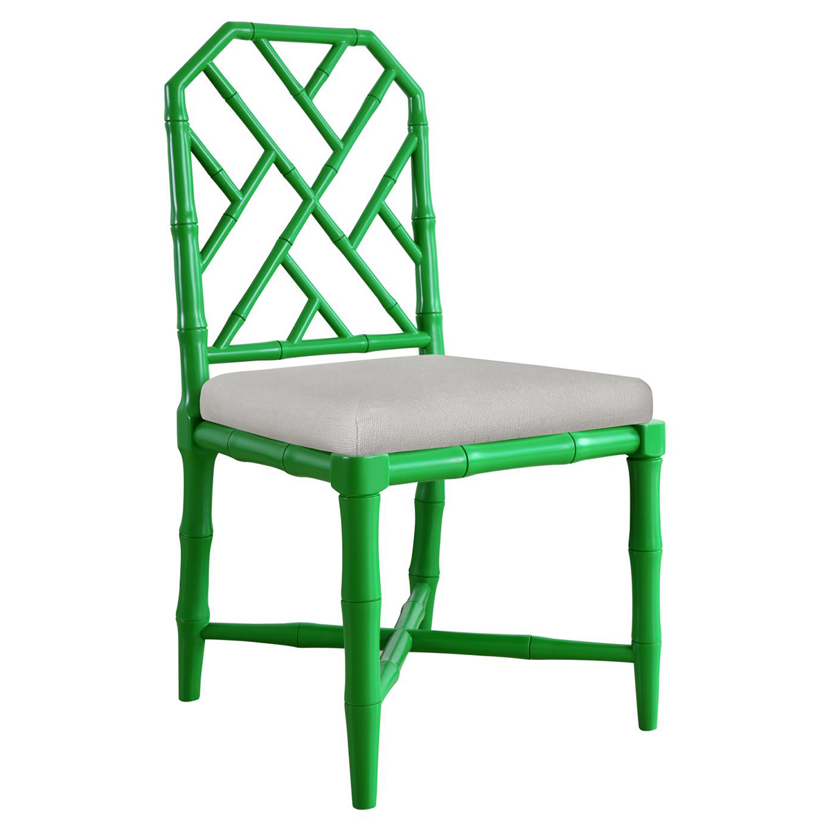Fontaine Hollywood Regency Bright Green Bamboo Dining Chair
