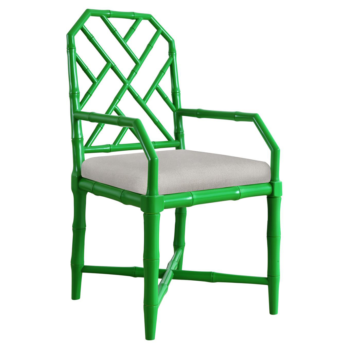 Fontaine Hollywood Regency Bright Green Bamboo Armchair