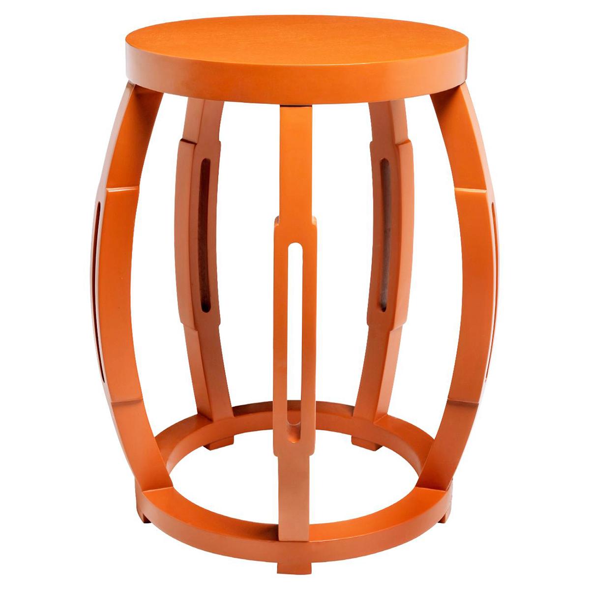 Sanibel Hollywood Regency Orange Side Table Stool