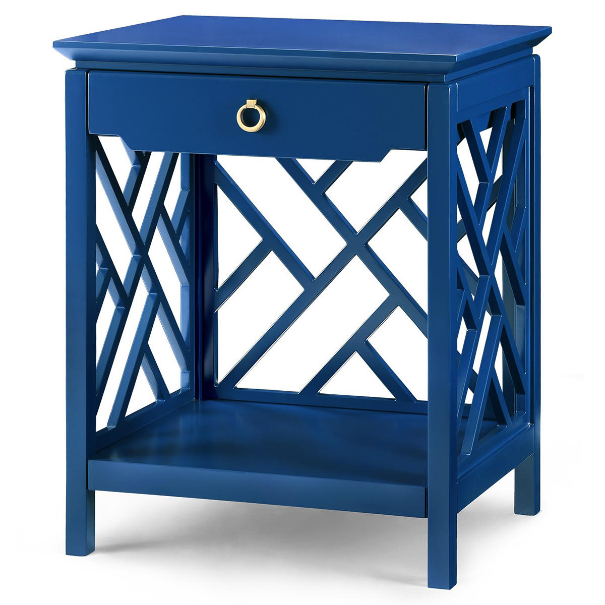Burton Hollywood Regency Gold Blue Lacquer Fret Nightstand