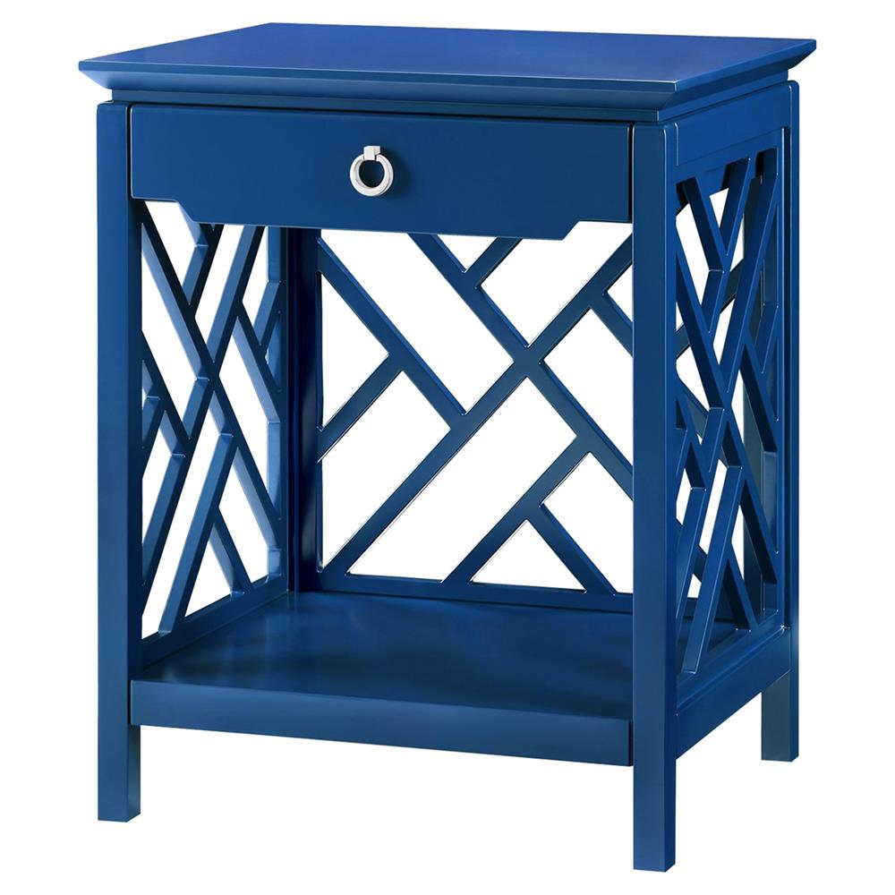Burton Hollywood Regency Silver Blue Lacquer Fret Nightstand